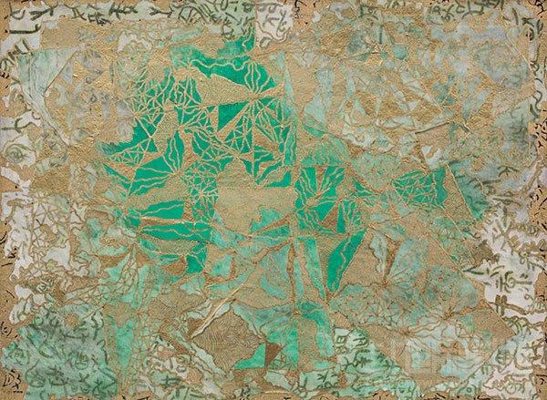 何航飞作品-碧湖香影-30×40cm-亚麻布-宣纸-丙烯-漆-2012年