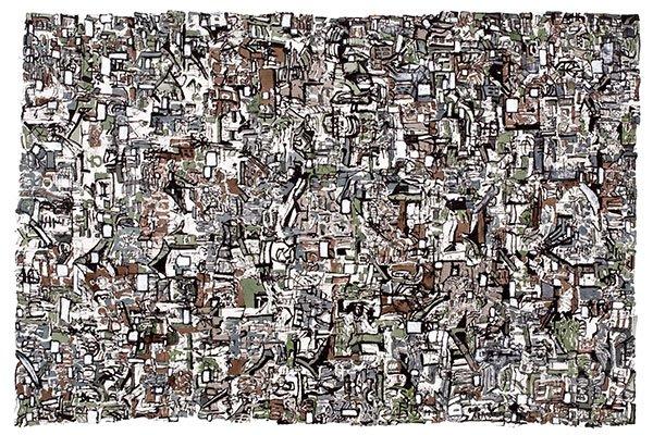 开兰作品-邻-70×70墨 丙烯 宣纸-2012